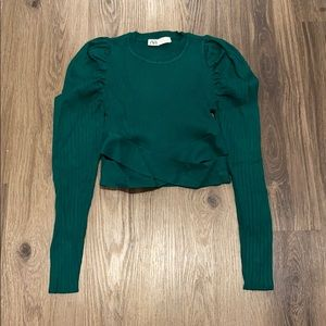Green Zara Puffy Sleeve Sweater